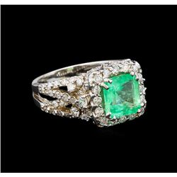 14KT White Gold 2.31 ctw Emerald and Diamond Ring