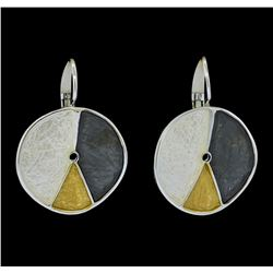 Tri Color Hand Painted Medallion Earrings - Rhodium Plated