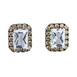 2.38 ctw Aquamarine and Diamond Earrings - 14KT White Gold