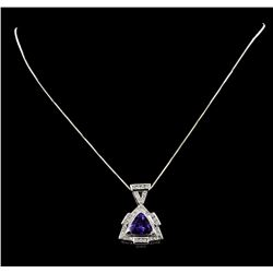 5.51 ctw Tanzanite And Diamond Pendant & Chain - 14KT White Gold