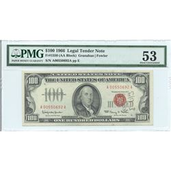 1966 $ 100 Legal Tender Note PMG About Uncirculated 53