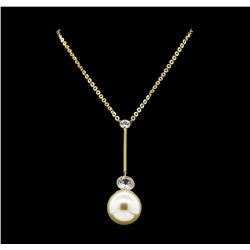 Round Crystal Bezel Pearl Necklace - Gold Plated