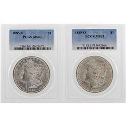 Lot of (2) 1885-O $1 Morgan Silver Dollar Coins PCGS MS63