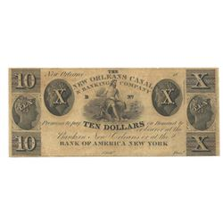 1800's $10 New Orleans Canal & Banking Co.,New Orleans Obsolete Bank Note