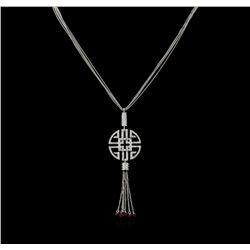 0.73 ctw Diamond and Ruby Pendant With Chain - 14KT White Gold