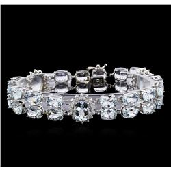 40.00 ctw Aquamarine and Diamond Bracelet - 14KT White Gold
