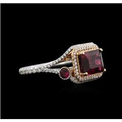 3.54 ctw Rubellite and Diamond Ring - 14KT White Gold