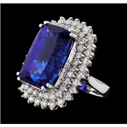 GIA Cert 24.59 ctw Tanzanite and Diamond Ring - 14KT White Gold