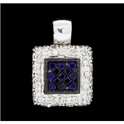 0.25 ctw Sapphire and Diamond Pendant - 14KT White Gold
