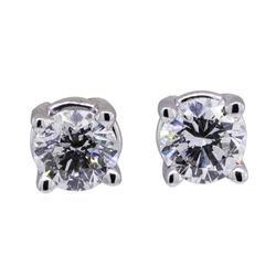 0.7 ctw Diamond Earrings - 14KT White Gold
