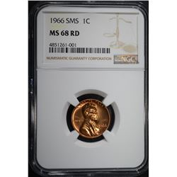 1966 SMS LINCOLN CENT, NGC MS-68 RD
