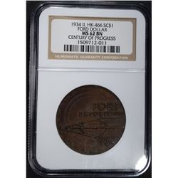 1934 IL HK-466 SO CALLED DOLLAR, NGC MS-62 BN