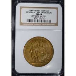 1905 OR HK-326 SO CALLED DOLLAR, NGC MS-63