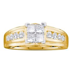 1.01 CTW Princess Diamond Cluster Bridal Engagement Ring 14KT Yellow Gold - REF-87M2H