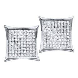 0.45 CTW Diamond Square Cluster Earrings 10KT White Gold - REF-18H7M