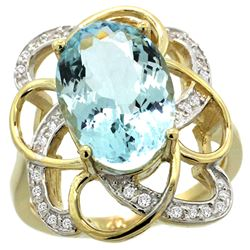Natural 5.59 ctw aquamarine & Diamond Engagement Ring 14K Yellow Gold - REF-86W6K