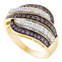1 CTW Black Color Diamond Cocktail Ring 14KT Yellow Gold - REF-79Y4X