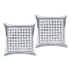 0.33 CTW Diamond Square Kite Cluster Earrings 14KT White Gold - REF-20N9F