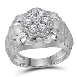 1 CTW Mens Diamond Flower Cluster Ribbed Ring 10KT White Gold - REF-131X2Y