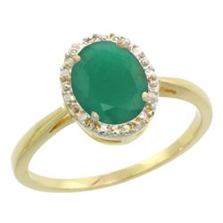 Natural 1.52 ctw Emerald & Diamond Engagement Ring 10K Yellow Gold - REF-29X7A