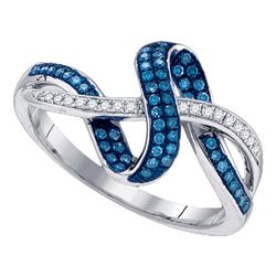 0.25 CTW Blue Color Diamond Ring 10KT White Gold - REF-32X9Y
