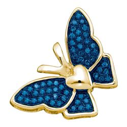0.16 CTW Blue Color Diamond Butterfly Bug Pendant 10KT Yellow Gold - REF-14X9Y