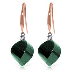 Genuine 30.6 ctw Green Sapphire Corundum & Diamond Earrings Jewelry 14KT Rose Gold - REF-51R9P