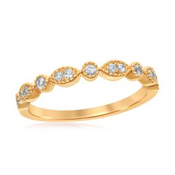 0.17 CTW Diamond Milgrain Stackable Ring 14KT Yellow Gold - REF-24M2H