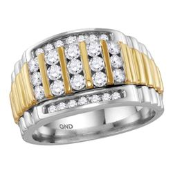 1 CTW Mens Diamond Cluster Ring 14KT Two-tone Gold - REF-120H2M