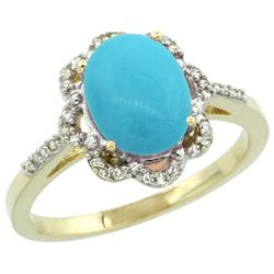 Natural 1.85 ctw Turquoise & Diamond Engagement Ring 10K Yellow Gold - REF-31Z7Y