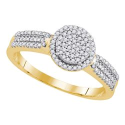 0.20 CTW Diamond Circle Cluster Bridal Engagement Ring 10KT Yellow Gold - REF-24N2F