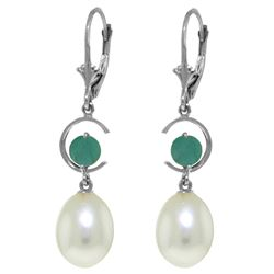 Genuine 9 ctw Pearl & Emerald Earrings Jewelry 14KT White Gold - REF-39X4M