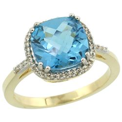 Natural 4.11 ctw Swiss-blue-topaz & Diamond Engagement Ring 10K Yellow Gold - REF-34H3W