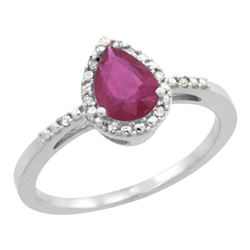 Natural 1.03 ctw ruby & Diamond Engagement Ring 10K White Gold - REF-27F8N