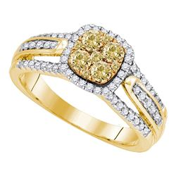 0.78 CTW Yellow Diamond Cluster Bridal Engagement Ring 14KT Yellow Gold - REF-97W4K