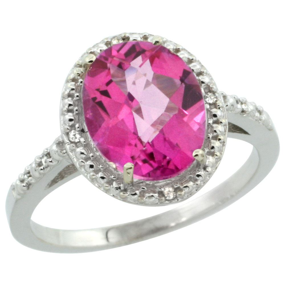 Natural 2.42 ctw Pink-topaz & Diamond Engagement Ring 10K White Gold ...