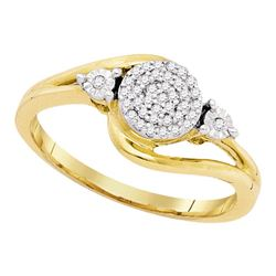 0.10 CTW Diamond Cluster Ring 10KT Yellow Gold - REF-14Y9X