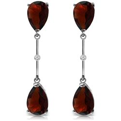 Genuine 6.01 ctw Garnet & Diamond Earrings Jewelry 14KT White Gold - REF-42F4Z