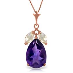Genuine 6.5 ctw Amethyst & White Topaz Necklace Jewelry 14KT Rose Gold - REF-38Z2N