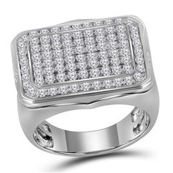 2.75 CTW Mens Pave-set Diamond Rectangle Cluster Ring 10KT White Gold - REF-187H4M