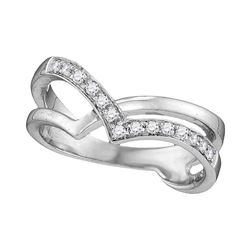 0.16 CTW Diamond Double Strand Crossover Ring 10KT White Gold - REF-22N4F