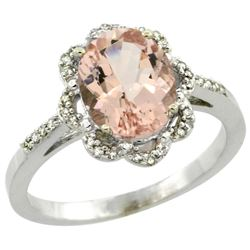 Natural 1.8 ctw Morganite & Diamond Engagement Ring 10K White Gold - REF-38X4A