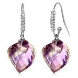 Genuine 21.68 ctw Amethyst & Diamond Earrings Jewelry 14KT White Gold - REF-61N3R