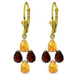 Genuine 3.9 ctw Citrine & Garnet Earrings Jewelry 14KT Yellow Gold - REF-40Y5F