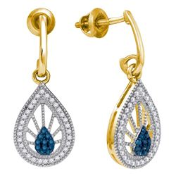 0.25 CTW Blue Color Diamond Teardrop Screwback Earrings 10KT Yellow Gold - REF-26X9Y