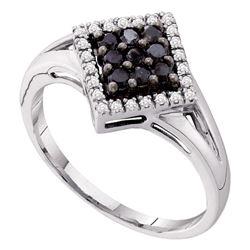0.20 CTW Black Color Diamond Diagonal Square Cluster Ring 10KT White Gold - REF-14W9K
