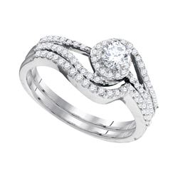 0.50 CTW Diamond Swirl Bridal Engagement Ring 10KT White Gold - REF-52Y4X