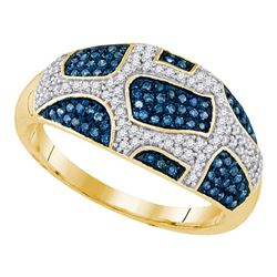 0.40 CTW Blue Color Diamond Ring 10KT Yellow Gold - REF-41K9W