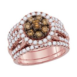 2 CTW Cognac-brown Color Diamond Bridal Ring 14KT Rose Gold - REF-202F5N
