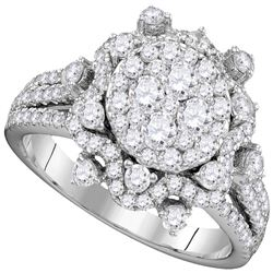 1.63 CTW Diamond Cluster Bridal Engagement Ring 14KT White Gold - REF-191F9N